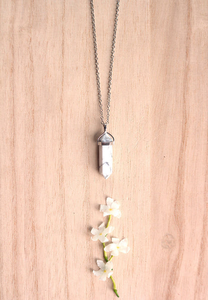 Howlite Crystal Point Necklace