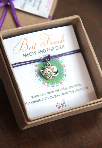 Best friends meow and fur-ever- kitty cat wish bracelet
