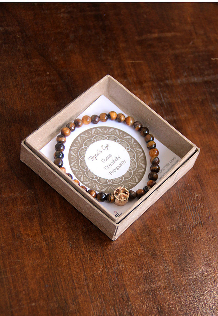 Tiger's Eye peace bracelet for men