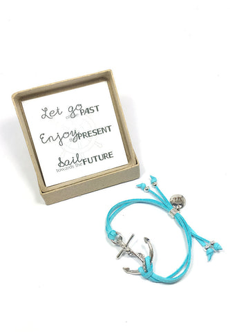 Let go of the past. Enjoy the present. Sail towards the future- Live anchor bracelet