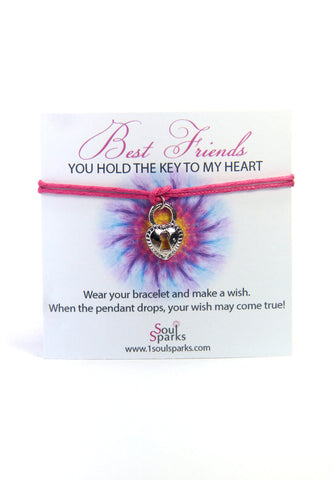 Best friend you hold the key to my heart- lock wish bracelet