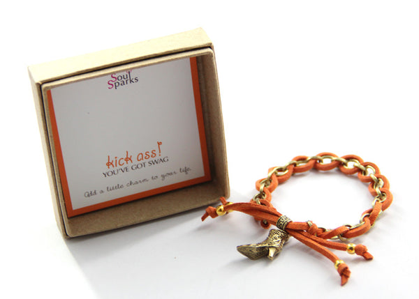 Kick Ass You've Got Swag Bracelet- cowgirl boots charm bracelet