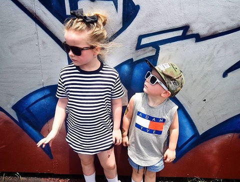 Moody Jude Australia sunglasses children's accessories brand rep Rhyleigh and Wyatt