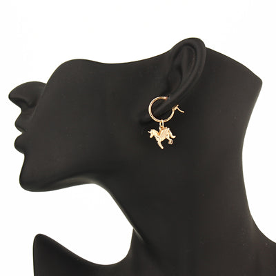Winged Unicorn Pendant Hoop Earrings