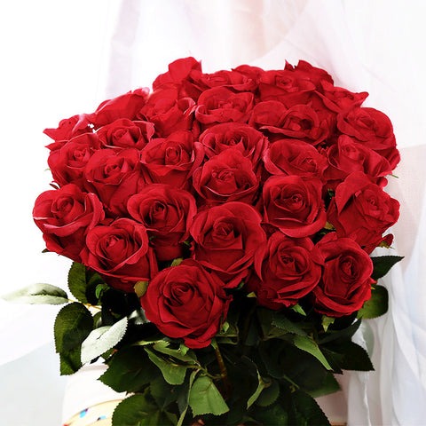 10pc Romantic Artificial Silk Red Rose