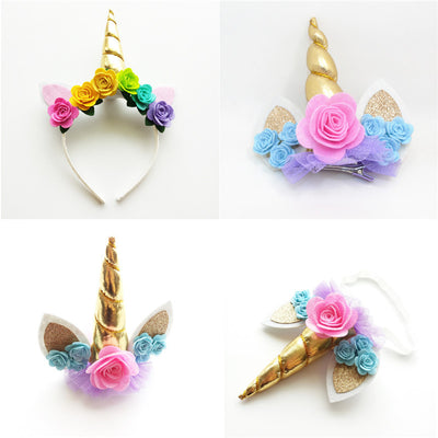 Gold Horn Unicorn Headband & Hair Clips