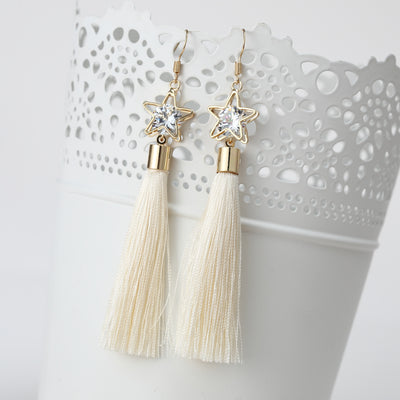 Rhinestone Long Tassel Earrings