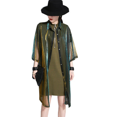 Laser Iridescent Gradient Long Jacket