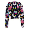 Unicorn Donuts Long Sleeve Crop Top