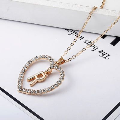 Rhinestone Heart Alphabet Necklace