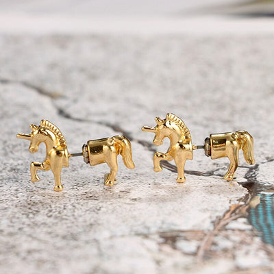 3D Unicorn Gold Earrings