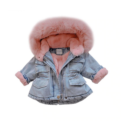 Kid Denim Fur Hooded Winter Coat Jacket