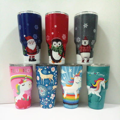 Unicorn Christmas Flamingo Thermos Cup