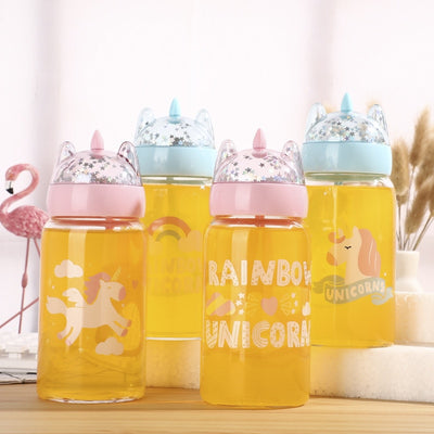 Sequined Unicorn Glass Water Bottle