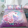 Watercolor Floral Unicorn Bedding Set