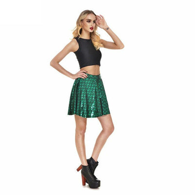 High Waist Mermaid Scales Skater Skirt