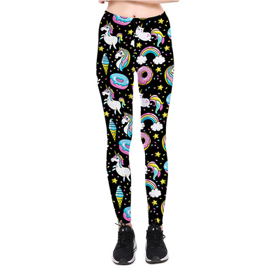 Galaxy Unicorn Black Leggings