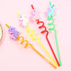 4pcs Cartoon Unicorn Mermaid Flamingo Straws