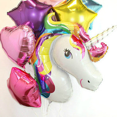 Unicorn with Heart and Stars Colorful Party Balloons Set