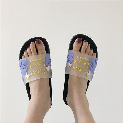 Transparent Unicorn Black Slippers