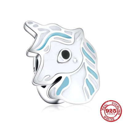 Unicorn Blue Enamel Bead