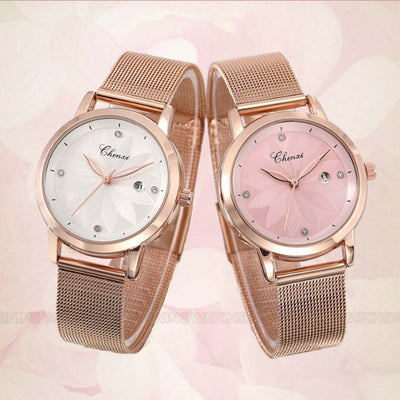 Pink Rose Waterproof Watch
