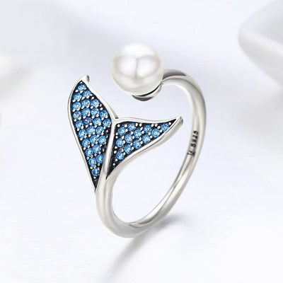 Mermaid Tail Silver Adjustable Ring