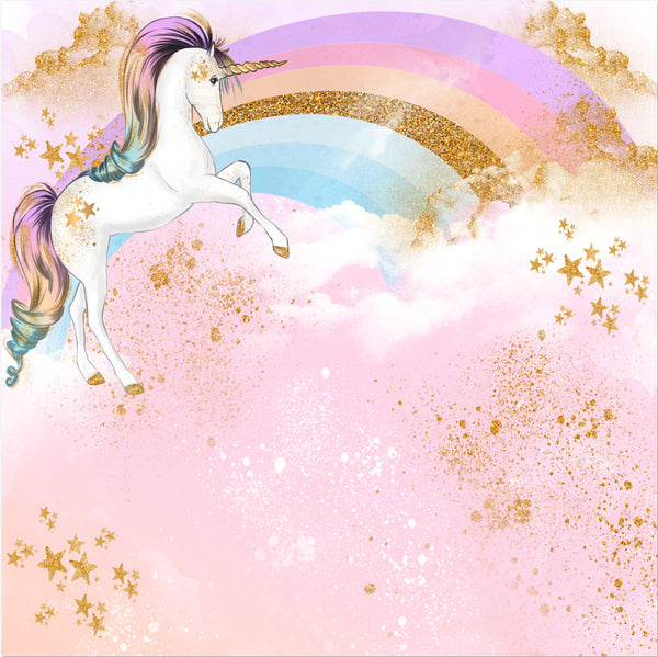 Gold Stars Rainbow Unicorn Photography Background Well Pick
