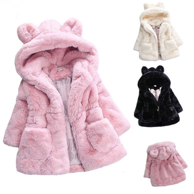 Bear Ears Hooded Fur Coat