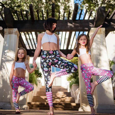 Unicorn Mermaid Mother Daughter Fitness Leggings