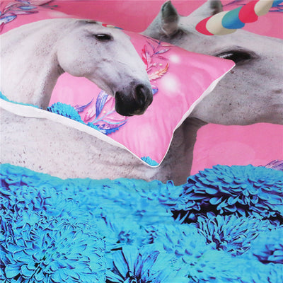 Unicorn Floral Bedding Set