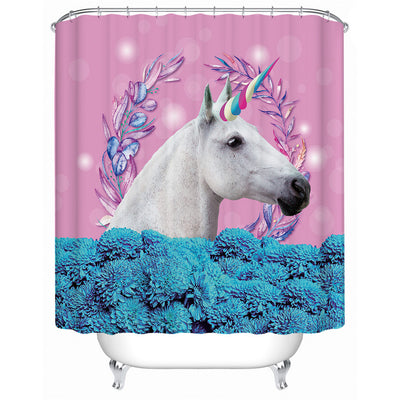 Unicorn Pink/Blue Floral Shower Curtain