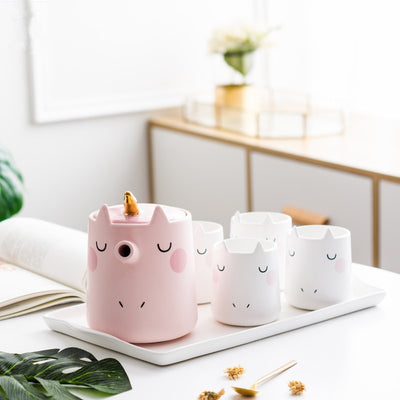 Cute Cartoon Unicorn Ceramic Mug Set