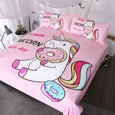 Unicorn Eating Doughnut Pink Bedding Set