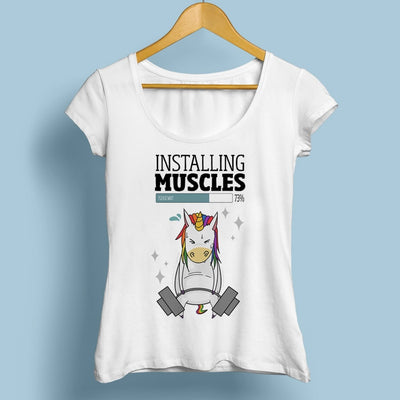 """Installing Muscles"" Unicorn T-shirt - Well Pick Review"