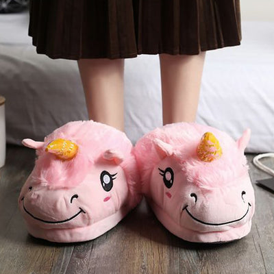 Plush Unicorn Flat Slippers