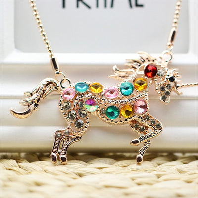 Unicorn Colorful Crystal Necklace