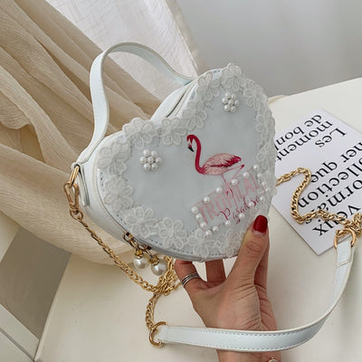 White Heart Unicorn Shoulder Bag