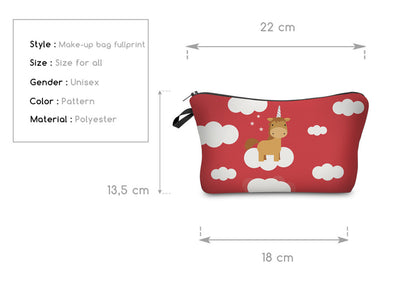 Red Unicorn Cosmetic Bag