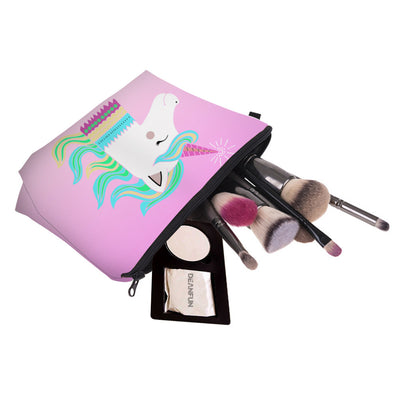 Pink Smiling Unicorn Cosmetic Bag