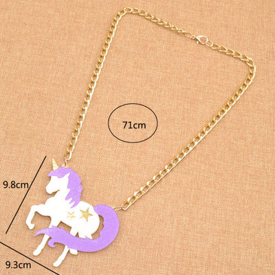 Glitter Unicorn Purple Necklace