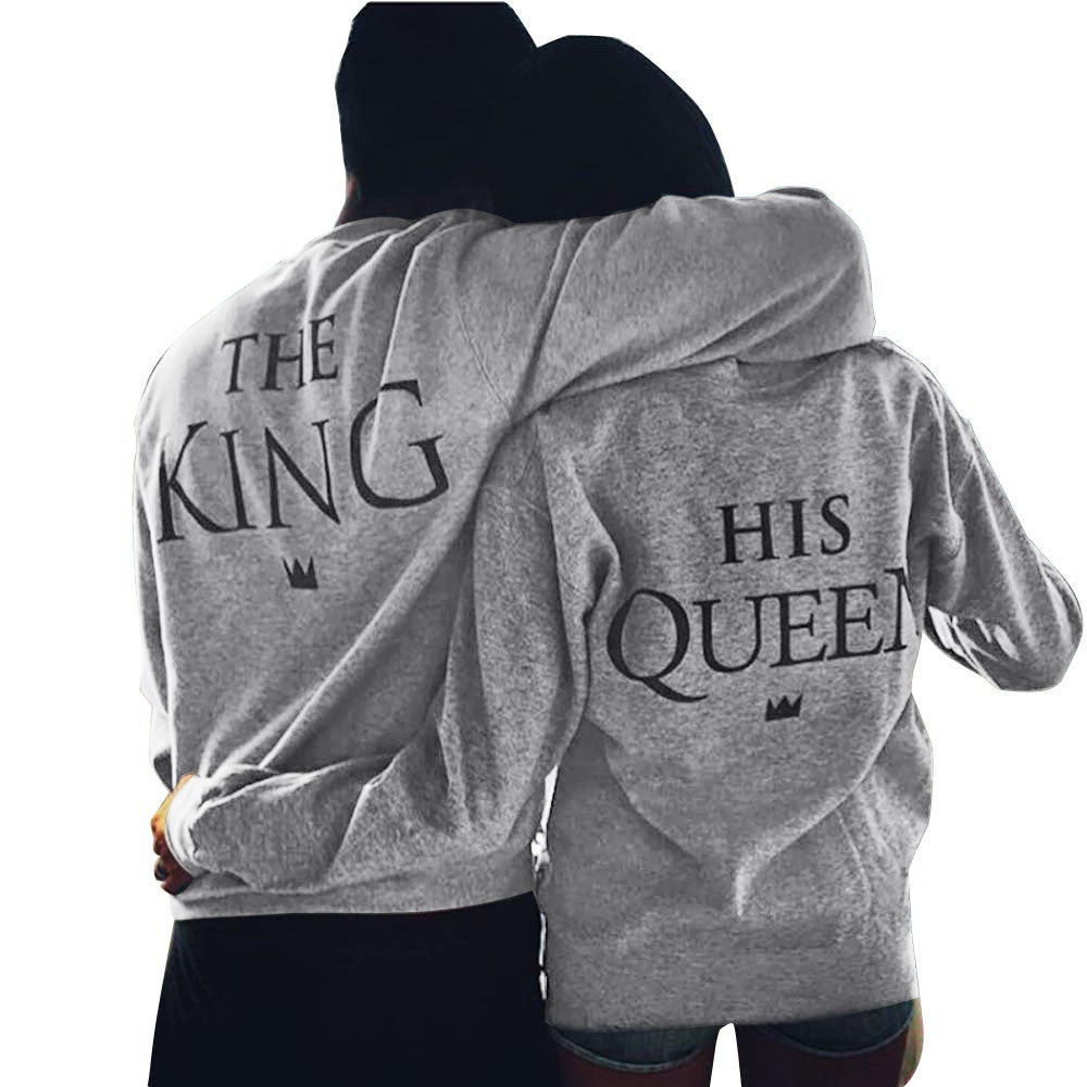 635e077cea King & Queen Grey Couple Sweatshirts - Well Pick