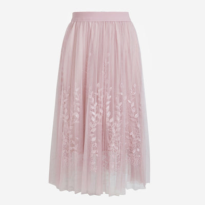 Floral Embroidery Mesh Skirt
