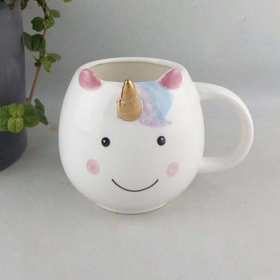 Smiling Unicorn Golden Horn Mug