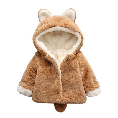 Girls Cat Ears Hooded Fur Coat