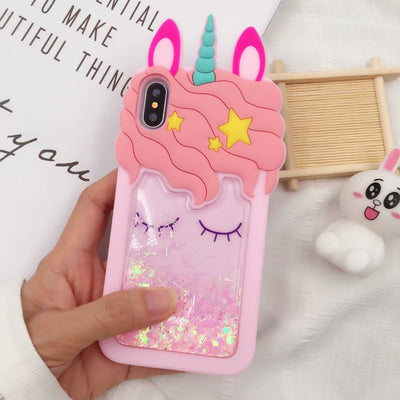 Glitter Unicorn Eyelashes Liquid iPhone Case