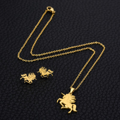 Majestic Golden Unicorn Jewelry Set
