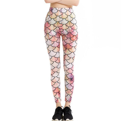 Mermaid Scales High Waist Stretched Leggings