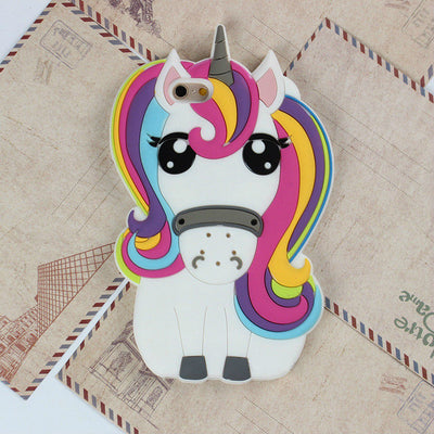 Rainbow 3D Unicorn Silicon Phone Case