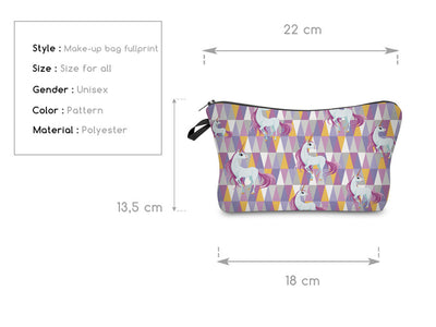Unicorn Geometric Pattern Cosmetic Bag